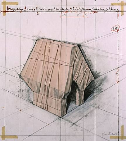 """""""Wrapped Snoopy House"""" - 2004 - Christo and Jeanne-Claude."""