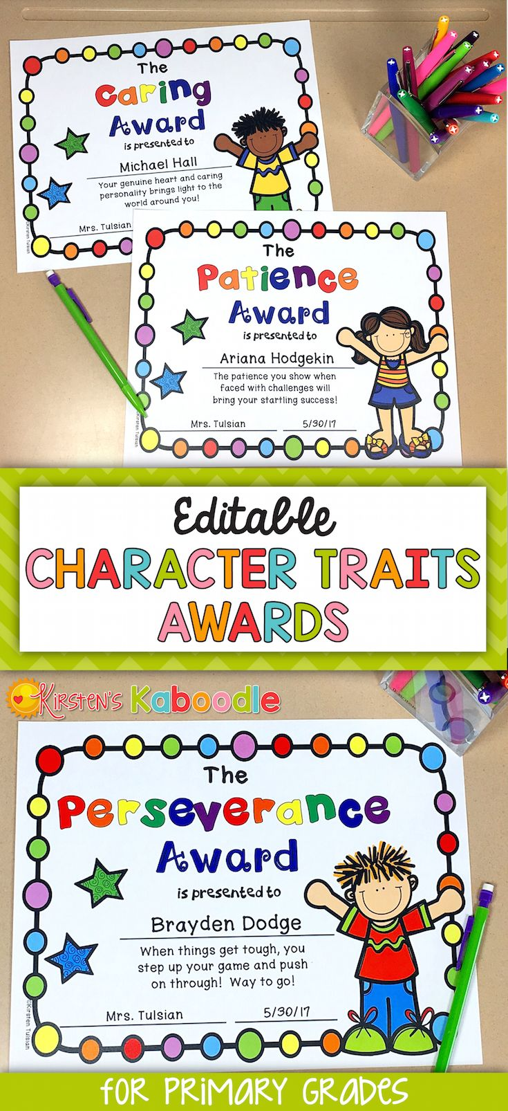 Are you looking for unique, editable awards for your students? These character traits awards are perfect for any Kindergarten, 1st, 2nd, or 3rd grade classroom. The best part about these end of year awards is that they celebrate inherent traits in your students instead of focusing on abilities or skills. Each award comes in various versions (black and white, color, gender, and ethnicity) with editable fields for names and date. Go ahead, help your students feel proud of WHO THEY ARE and not…