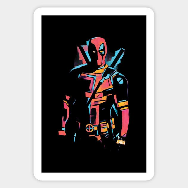 Deadpool tee by Fimbis _________________   Wade Wilson, merc with a mouth, superheroes, comics, portrait, x force, stickers,