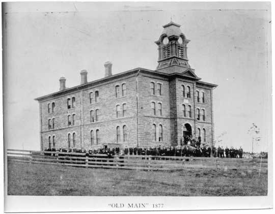 Old Main, the first building at Gustavus Adolphus College, St. Peter, 1877. Minnesota Historical Society Photograph Collection
