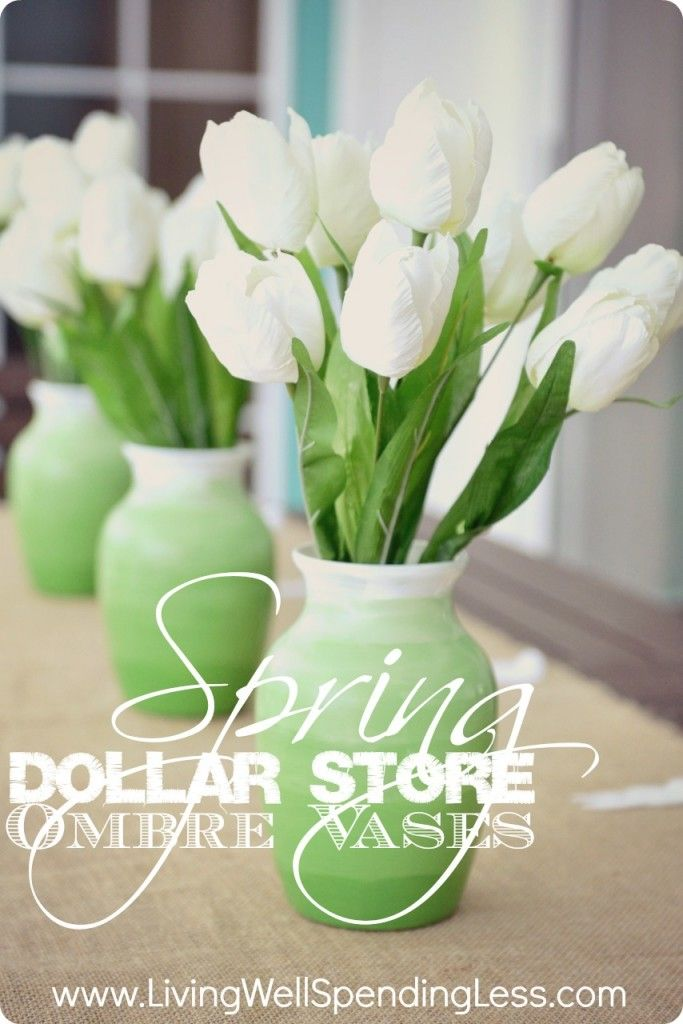 Ombre vases. Cute & thrifty DiY project using dollar store vases! Change the color for different seasons.
