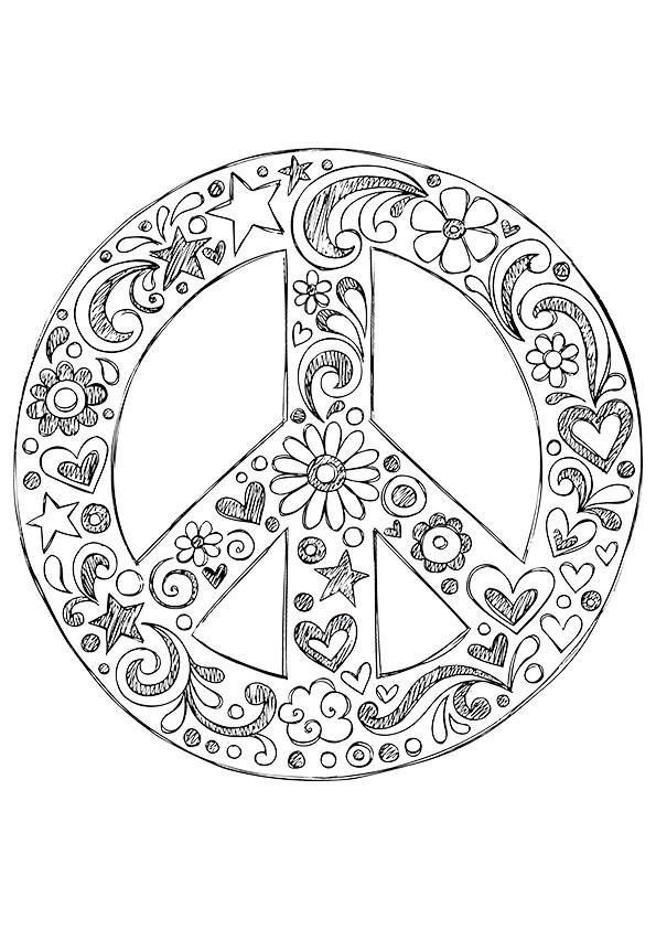801 best art coloring pages images on pinterest for Peace sign mandala coloring pages