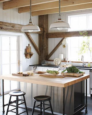 Farmhouse Kitchen With Exposed Beams, Barn Boards, Large Island With  Butcher Block Top; White Kitchen With Planked Walls; Pendant Lights And  Huge Windows