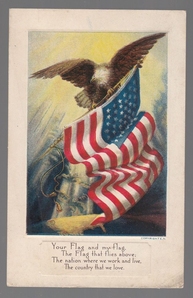 """[54443] OLD PATRIOTIC POSTCARD """"YOUR FLAG AND MY FLAG"""" EAGLE & AMERICAN FLAG"""