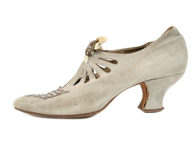 Grey Suede Shoes - c. 1910 - Round Buckle, Decorated with Beads and Perforation - Shoe Icons
