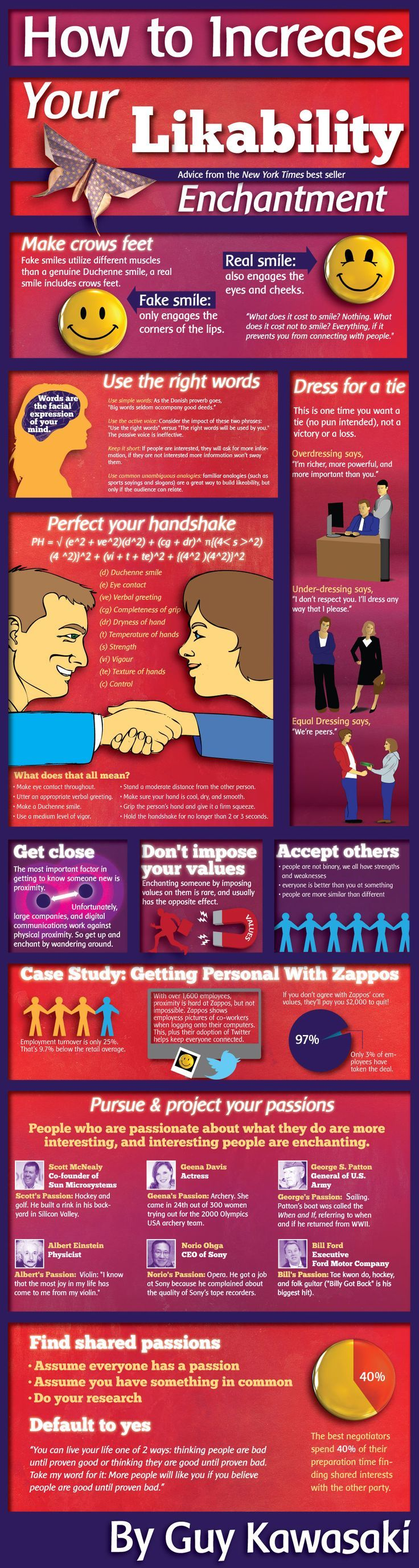"""Guy Kawasaki """"How to Increase your likeability"""" Enchantment Infographic"""