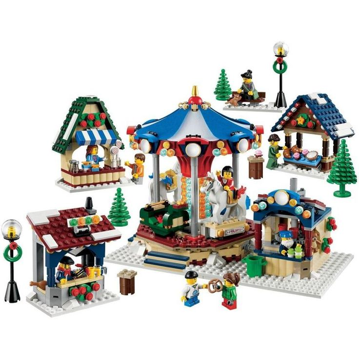 Celebrate a holiday season full of traditions and building with the Winter Village Market! LEGO Winter Village Series, includes 9 minifigures with accessories: 3 females, 2 males and 4 children. Accessories include cups, teddy bear, a cat, scarf, purse and lots of food elements. Features functioning carousel and operator's booth, baker's stand, grill stand, candy stand, 2 streetlamps, 3 trees, a bench and 3 tables. http://www.zocko.com/z/JIul1