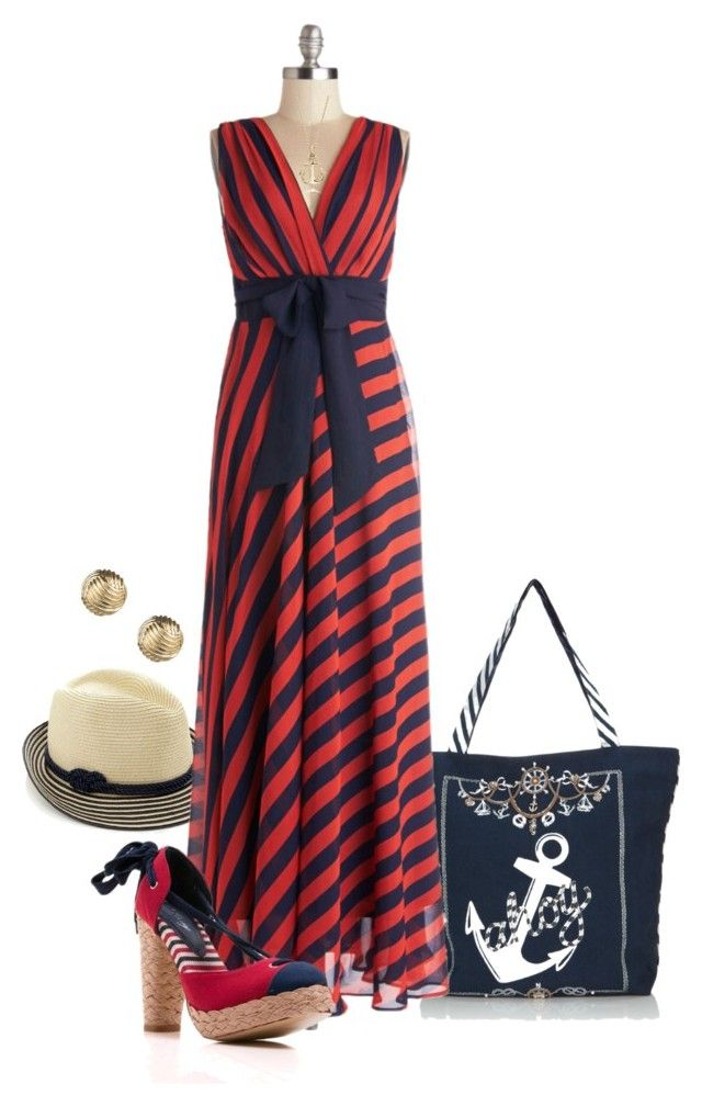 """Nautical Maxi Dress"" by shanasark ❤ liked on Polyvore featuring Accessorize, Blue Nile, Sperry Top-Sider, women's clothing, women's fashion, women, female, woman, misses and juniors"