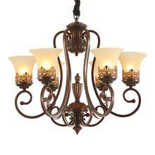 JW_European Amerikaanse Landelijke LivingRoom Kroonluchter Lamp Iron Retro Antieke Koperen Messing Kleur Premium Vintage Kroonluchter Verlichting(China)