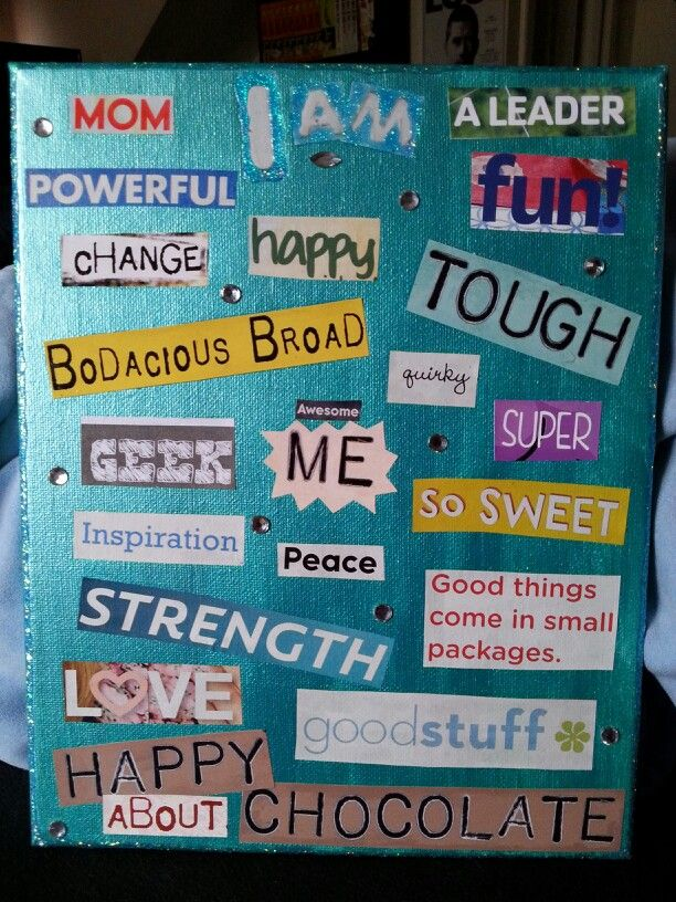"""""""I Am..."""" board I made  for our Junior Girl Scout Amuse Journey. Each girl will make her own.   To prepare beforehand, I pre-cut a bunch of positive words from old magazines and painted canvases. The girls then find the words that describe them best, and glue them on. I also brought """"embellishments"""", glitter glue, gem stickers, etc.   *~*Caly*~*"""