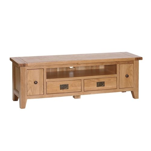 """Montague Oak Extra Large TV Unit - up to 68"""" (M010) with Free Delivery   The Cotswold Company - VXA048"""