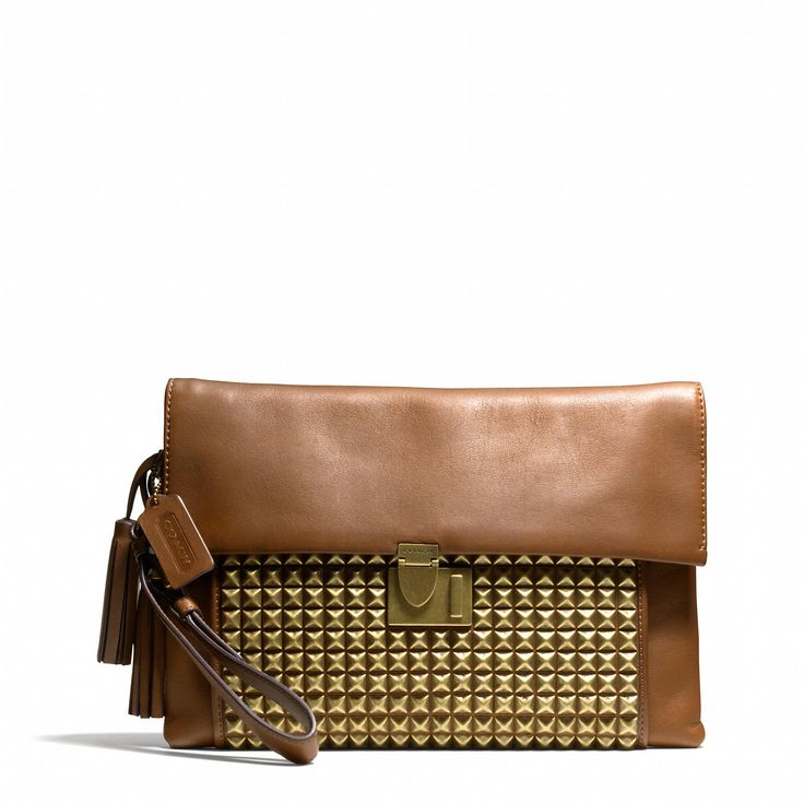 Coach :: LEGACY LOCK CLUTCH IN STUDDED LEATHER