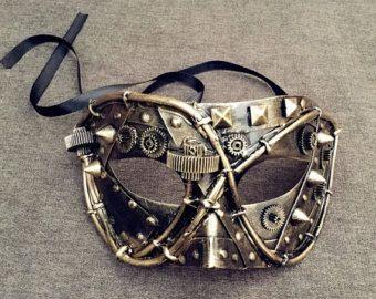 Hombres Masquerade Ball máscara Steampunk engranaje por WMUlike