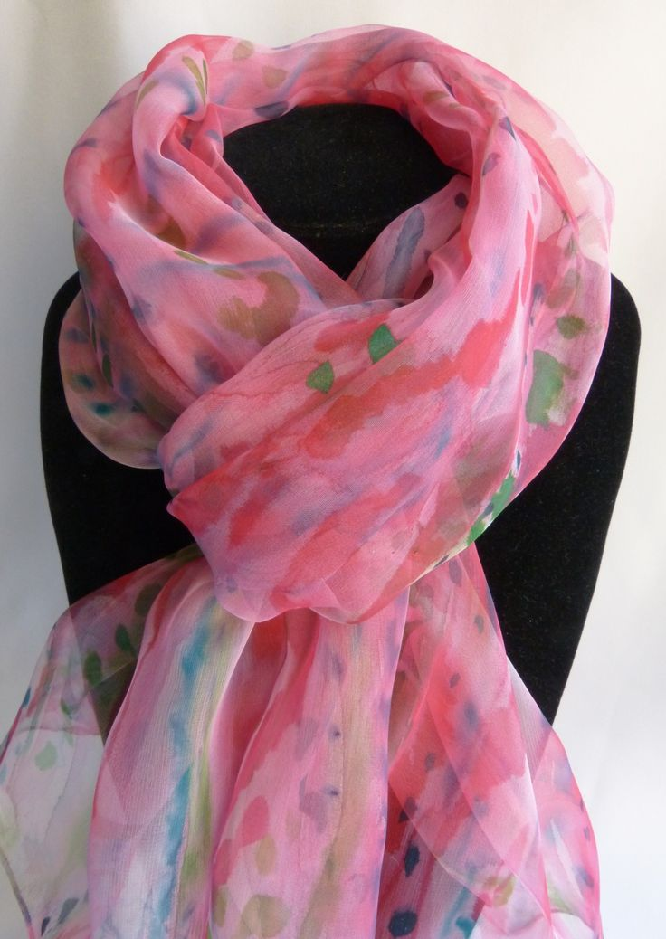 """Echarpe, foulard en Mousseline de Soie peint main rouge et rose """" Sérénité """" : Echarpe, foulard, cravate par soie-peint-main"""
