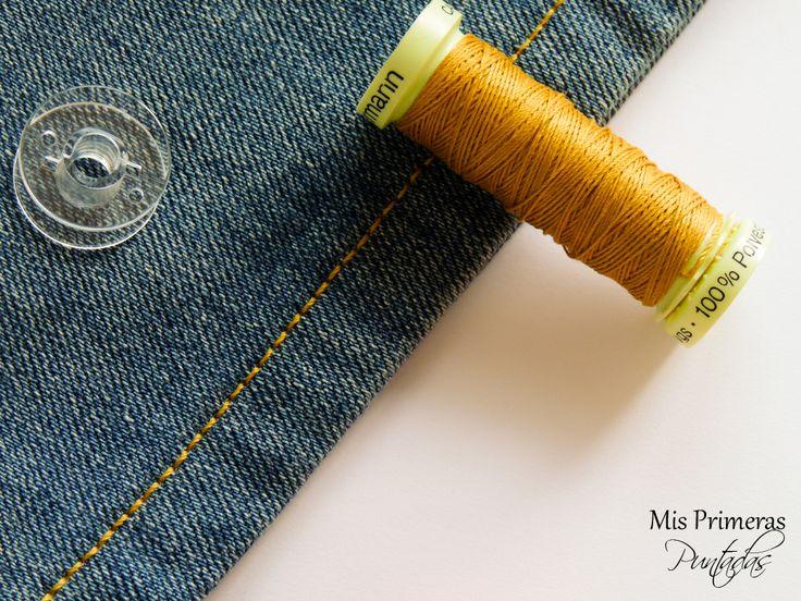 Mis Primeras Puntadas. Consejos para coser con hilo de torzal en telas vaqueras.