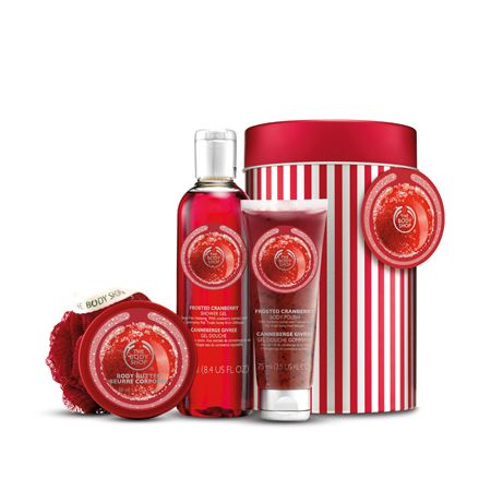 Enjoy the vibrant, special-edition scent of Frosted Cranberry from top to toe with this pampering set. This selection of delicious-smelling seasonal bath and body treats come perfectly packaged in a candy-striped tin – no wrapping required!