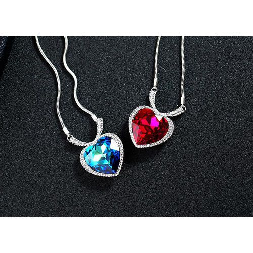Ocean Sea Heart Sweater Chains For Women Genuine White Gold Plated Hot Crystal