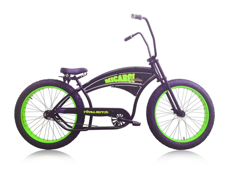 Micargi Royal Dutch Single-speed Fat Bike/Beach Cruiser (Matte Black/Green Rims)