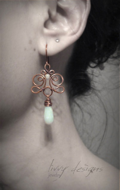 Wire wrapped copper earrings with beautiful long by LivvyDesigns, €18.00