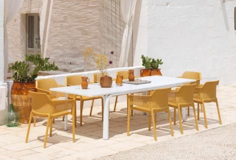 NARDI NET 9 PIECE DINING SETTING WITH EXTENDIBLE TABLE
