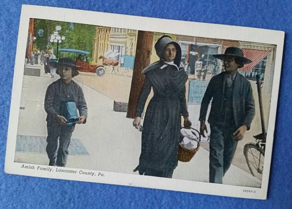 Vintage Amish Family Postcard Lancaster County PA new unused