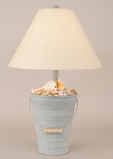 Bucket Of Shells Table Lamp In Cottage Seamist Beach Decor | Nautical Decor  | Tropical Decor
