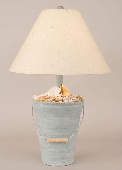 Bucket of Shells Table Lamp in Cottage Seamist Beach Decor   Nautical Decor   Tropical Decor   Coastal Decor