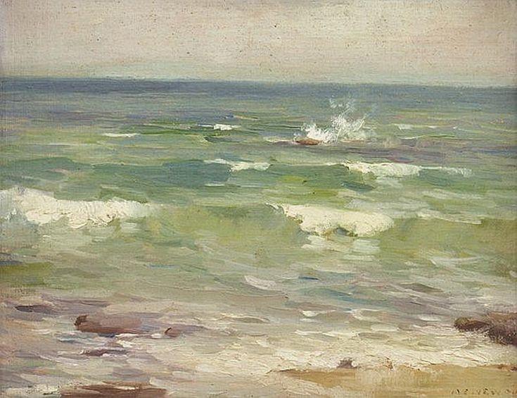 White Caps, Seascape, Oil on board, Albert Ernest Newbury