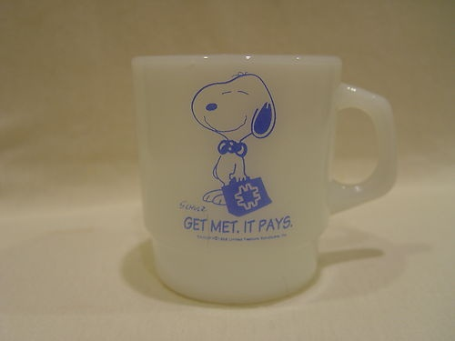 Fake - Fire King Peanuts Snoopy Get Met Life Insurance Advertising Coffee Mug - Metlife Snoopy came out AFTER Fire King stopped producing mugs