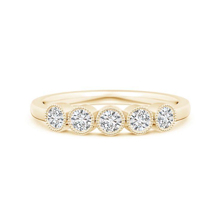Angara Milgrain-Edged Bezel Set Diamond Five Stone Ring mkpam