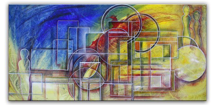 Burgstaller abstrakte Malerei Figuren Bild Gemälde blau gelb rot Wandbild 50x100
