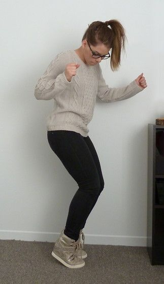 H&M Sweater, Garage Clothing Black Jeans, Aldo Sneaker Wedge