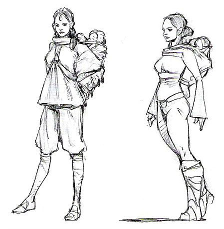 Unused Padme concept art for Revenge of the Sith. SOMEONE remembered Leia saying her birth mother didn't die until she was 3 or so!  Silly Lucas, ret-conning that!