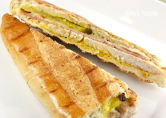 Turkey Cuban Sandwich Recipe Lunch and Snacks, Main Dishes with french bread, turkey breast, ham, swiss cheese, pickles, mustard, Pam Cooking Spray