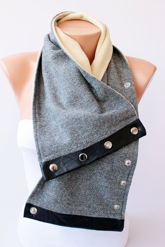 Man scarf / WOMAN man NECKWARMER with snaps on by SenasShop