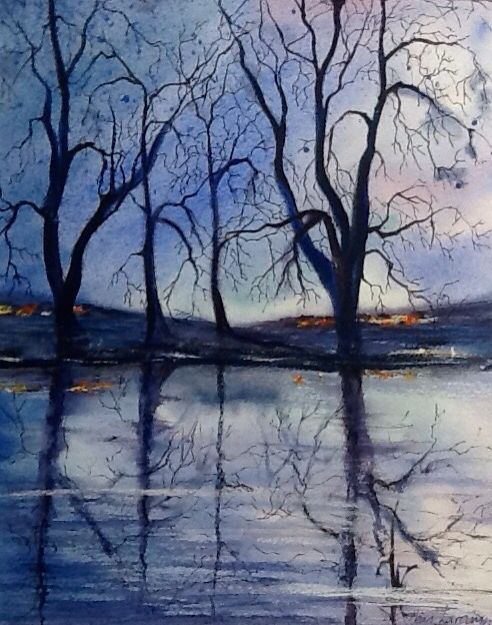 Watercolour, pen and pastel demonstration painting for night scenes.