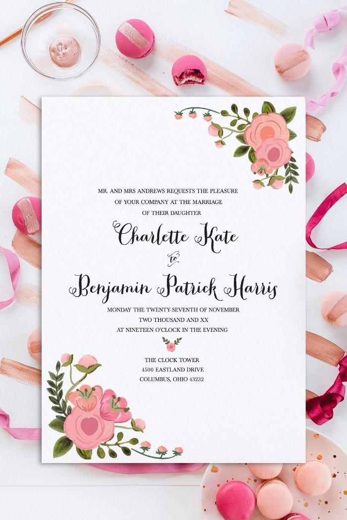 Romantic Blush Free Wedding Invitation Set Wedding Invitation Online Design Free Wedding Printables Wedding Invitation Design