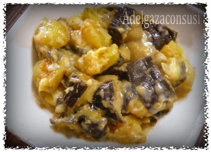 Recetas Light - Adelgazaconsusi: Berenjenas con patatas, queso y pimentón al microondas. (231kcal)