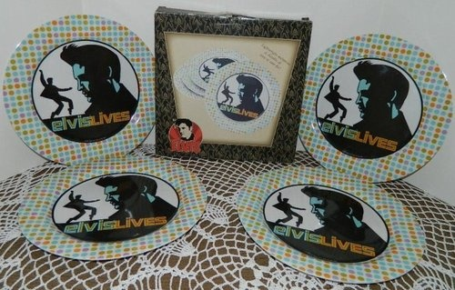 Elvis Presley Collectible 2 Box Sets of 4  (8) Melamine Plates Total New #elvis