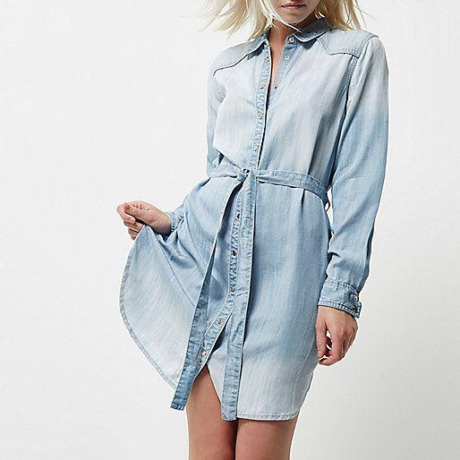 Petite light blue faded tie waist shirt dress