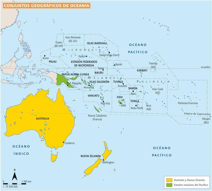 Resultado de imagen de mapa politico oceania 2016