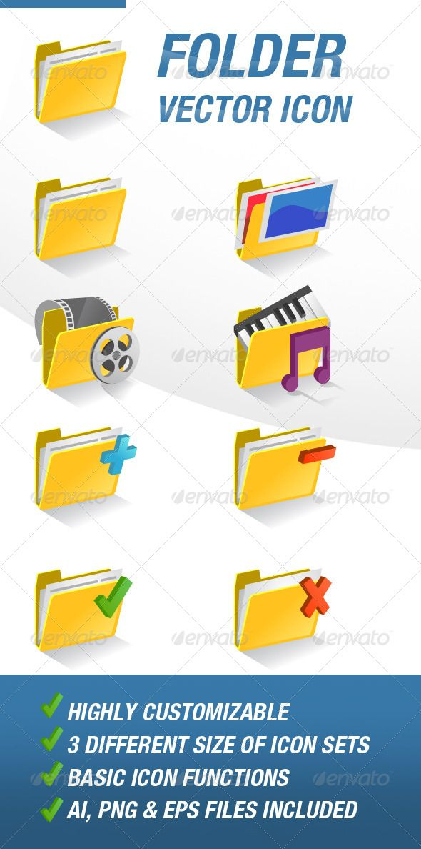 Folder Vector Icon Set  #GraphicRiver         This set includes:   - 8 type of different Folder Icon,  Default Folder Vector Icon  Image / Picture Folder Vector Icon  Video Folder Vector Icon  Music Folder Vector Icon  Add, Delete, Success, Failed Folder Vector Icon   - 3 Different sizes of icon sets: 128×128, 96×96, 64×64   - Basic Icon Functions   - AI, PNG and EPS Files included     Created: 25June13 GraphicsFilesIncluded: TransparentPNG #VectorEPS #AIIllustrator HighResolution: Yes…