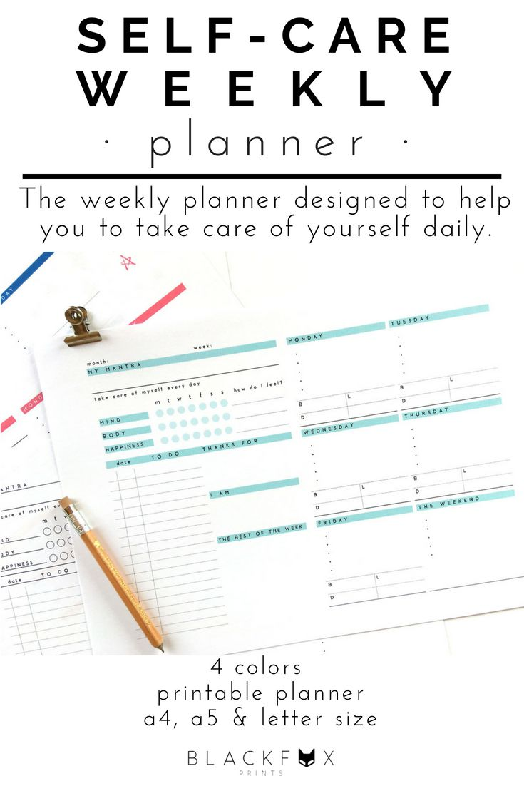 weekly planner self care printable planner a5 planner inserts