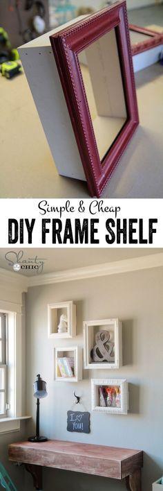 DIY display shelves using cheap frames. Love this (: