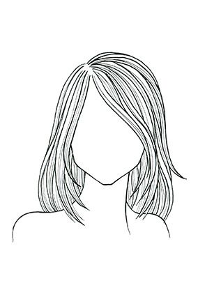 Straight Hair, Square Face A shoulder-length cut with layers from chin to collarbone softens a strong jaw; sideswept bangs minimize a wide forehead.