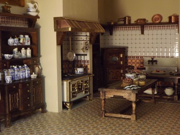 pictures of edwardian kitchens | Late Victorian English Manor Dollhouse: 1/12 Miniature from Scratch