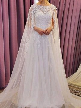 Scoop Neck Lace Beading Court Train A-Line Wedding Dress & fairy Wedding Dresses
