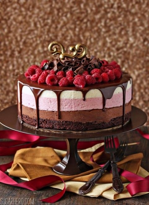 Chocolate Raspberry Mousse Cake   SugarHero.com