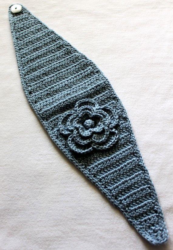Blue Hand Crocheted Headband/Earwarmer by micheleweeksboutique