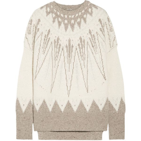 Adam Lippes Intarsia merino wool and cashmere-blend sweater ($1,250) ❤ liked on Polyvore featuring tops, sweaters, cream, oversized white sweater, oversized white top, oversized cream sweater, cashmere blend sweater and merino wool sweater